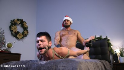 Photo number 7 from Santa's Slut: Rough Takedown Sex for First Time Kink Model shot for Bound Gods on Kink.com. Featuring Jaxton Wheeler and Addison Blue in hardcore BDSM & Fetish porn.