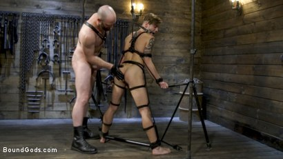 Photo number 12 from Master Samson Brutally Trains Clean Cut Jock Casey Everett shot for Bound Gods on Kink.com. Featuring Casey Everett and Hunter Samson in hardcore BDSM & Fetish porn.