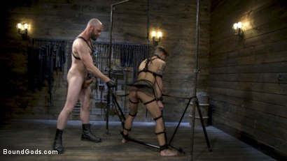 Photo number 14 from Master Samson Brutally Trains Clean Cut Jock Casey Everett shot for Bound Gods on Kink.com. Featuring Casey Everett and Hunter Samson in hardcore BDSM & Fetish porn.