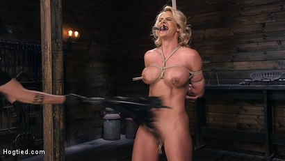 Photo number 2 from Phoenix Marie and Her Big Tits are Captured in Bondage and Tormented shot for Hogtied on Kink.com. Featuring The Pope and Phoenix Marie in hardcore BDSM & Fetish porn.