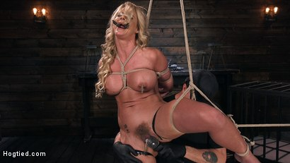Photo number 4 from Phoenix Marie and Her Big Tits are Captured in Bondage and Tormented shot for Hogtied on Kink.com. Featuring The Pope and Phoenix Marie in hardcore BDSM & Fetish porn.