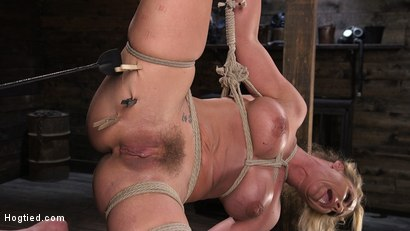Photo number 7 from Phoenix Marie and Her Big Tits are Captured in Bondage and Tormented shot for Hogtied on Kink.com. Featuring The Pope and Phoenix Marie in hardcore BDSM & Fetish porn.