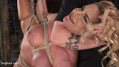 Photo number 10 from Phoenix Marie and Her Big Tits are Captured in Bondage and Tormented shot for Hogtied on Kink.com. Featuring The Pope and Phoenix Marie in hardcore BDSM & Fetish porn.