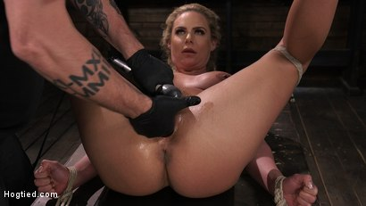 Photo number 14 from Phoenix Marie and Her Big Tits are Captured in Bondage and Tormented shot for Hogtied on Kink.com. Featuring The Pope and Phoenix Marie in hardcore BDSM & Fetish porn.