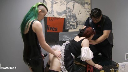 Photo number 11 from Turning The Paige: Chapter Five shot for Wasteland on Kink.com. Featuring Doc Clockwork, Paige Pierce and Ami Mercury in hardcore BDSM & Fetish porn.