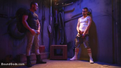 Photo number 2 from Street Meat: Back Alley Bondage shot for Bound Gods on Kink.com. Featuring Jay Austin  and Myles Landon in hardcore BDSM & Fetish porn.