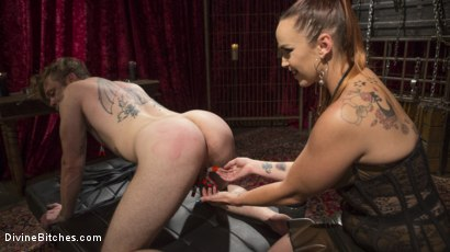Photo number 4 from Gorgeous Sadist Bella Rossi Torments An Unsuspecting Mike Panic shot for Divine Bitches on Kink.com. Featuring Bella Rossi and Mike Panic in hardcore BDSM & Fetish porn.