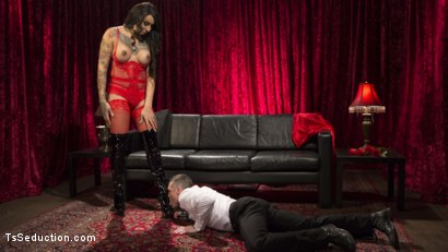 Photo number 2 from Sensual Sex in the Champagne Room with Honey Foxxx and Lance Hart shot for TS Seduction on Kink.com. Featuring Honey FoXXX and Lance Hart in hardcore BDSM & Fetish porn.