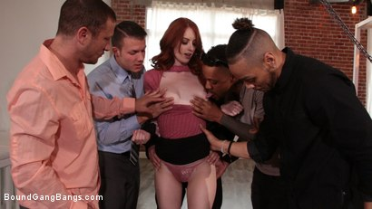 Photo number 2 from Alex Harper Bound and Gangbanged by 5 Horny Homebuyers shot for Bound Gang Bangs on Kink.com. Featuring Alex Harper, Donny Sins, Mr. Pete, Cyrus King , Codey Steele  and Eddie Jaye in hardcore BDSM & Fetish porn.