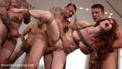 Photo number 13 from Alex Harper Bound and Gangbanged by 5 Horny Homebuyers shot for Bound Gang Bangs on Kink.com. Featuring Alex Harper, Donny Sins, Mr. Pete, Cyrus King , Codey Steele  and Eddie Jaye in hardcore BDSM & Fetish porn.