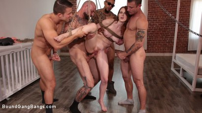 Photo number 10 from Alex Harper Bound and Gangbanged by 5 Horny Homebuyers shot for Bound Gang Bangs on Kink.com. Featuring Alex Harper, Donny Sins, Mr. Pete, Cyrus King , Codey Steele  and Eddie Jaye in hardcore BDSM & Fetish porn.