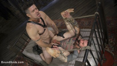 Photo number 17 from Ripped God Teddy Bryce Fucked and Beaten in Rope Bondage by Hot Stud! shot for Bound Gods on Kink.com. Featuring Trenton Ducati and Teddy Bryce in hardcore BDSM & Fetish porn.
