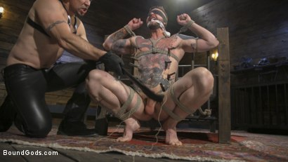 Photo number 3 from Ripped God Teddy Bryce Fucked and Beaten in Rope Bondage by Hot Stud! shot for Bound Gods on Kink.com. Featuring Trenton Ducati and Teddy Bryce in hardcore BDSM & Fetish porn.
