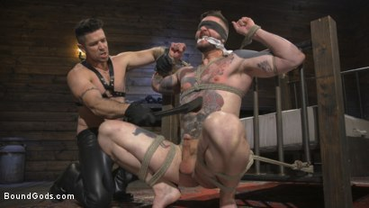 Photo number 7 from Ripped God Teddy Bryce Fucked and Beaten in Rope Bondage by Hot Stud! shot for Bound Gods on Kink.com. Featuring Trenton Ducati and Teddy Bryce in hardcore BDSM & Fetish porn.