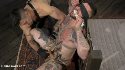 Photo number 2 from Ripped God Teddy Bryce Fucked and Beaten in Rope Bondage by Hot Stud! shot for Bound Gods on Kink.com. Featuring Trenton Ducati and Teddy Bryce in hardcore BDSM & Fetish porn.