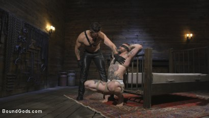 Photo number 4 from Ripped God Teddy Bryce Fucked and Beaten in Rope Bondage by Hot Stud! shot for Bound Gods on Kink.com. Featuring Trenton Ducati and Teddy Bryce in hardcore BDSM & Fetish porn.