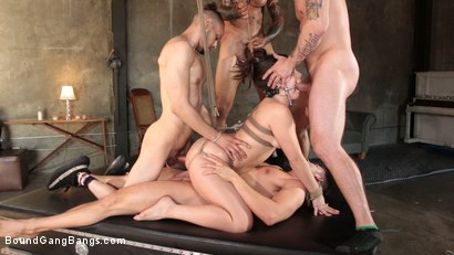 Photo number 16 from Kimber Woods Breaks Down And Gets Banged Up shot for Bound Gang Bangs on Kink.com. Featuring Kimber Woods, Eddie Jaye, Codey Steele , Mr. Pete and Donny Sins in hardcore BDSM & Fetish porn.