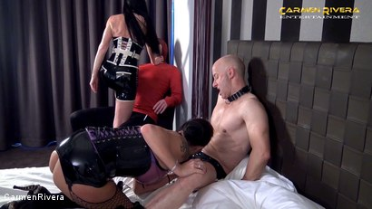 """Photo number 1 from Cuckold 666: Chapter Two shot for Carmen Rivera on Kink.com. Featuring Carmen Rivera, Miss Roxxy, Mister P. and Chris """"Schock"""" Cock in hardcore BDSM & Fetish porn."""