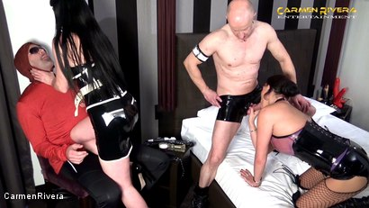 """Photo number 2 from Cuckold 666: Chapter Two shot for Carmen Rivera on Kink.com. Featuring Carmen Rivera, Miss Roxxy, Mister P. and Chris """"Schock"""" Cock in hardcore BDSM & Fetish porn."""