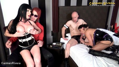 """Photo number 4 from Cuckold 666: Chapter Two shot for Carmen Rivera on Kink.com. Featuring Carmen Rivera, Miss Roxxy, Mister P. and Chris """"Schock"""" Cock in hardcore BDSM & Fetish porn."""