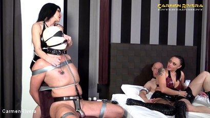 """Photo number 8 from Cuckold 666: Chapter Two shot for Carmen Rivera on Kink.com. Featuring Carmen Rivera, Miss Roxxy, Mister P. and Chris """"Schock"""" Cock in hardcore BDSM & Fetish porn."""