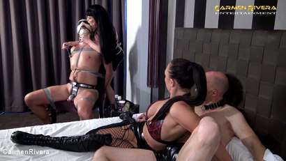 """Photo number 9 from Cuckold 666: Chapter Two shot for Carmen Rivera on Kink.com. Featuring Carmen Rivera, Miss Roxxy, Mister P. and Chris """"Schock"""" Cock in hardcore BDSM & Fetish porn."""