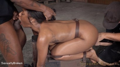 Photo number 13 from Luscious Ebony Cutie Endures Brutal Tag Team Fucking shot for Sexually Broken on Kink.com. Featuring Chanell Heart, Jack Hammer and Matt Williams in hardcore BDSM & Fetish porn.