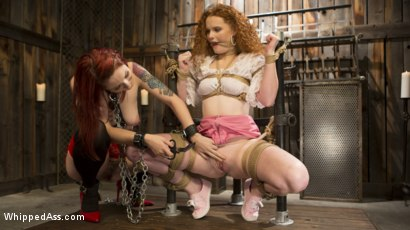 Photo number 3 from Young New Slave Brutally Inducted Into The Redhead Lesbian Dungeon shot for Whipped Ass on Kink.com. Featuring Bella Rossi, Violet Monroe and Emma Heart in hardcore BDSM & Fetish porn.