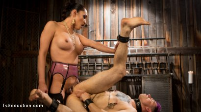 Photo number 14 from Out Foxed 2: Big Boss Becomes Dungeon Anal Whore shot for TS Seduction on Kink.com. Featuring Jessica Fox and Corbin Dallas in hardcore BDSM & Fetish porn.
