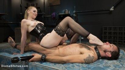 Photo number 3 from Svelte Blonde Delirious Hunter Punishes and Fucks Buttslut Slave shot for Divine Bitches on Kink.com. Featuring Delirious Hunter and DJ in hardcore BDSM & Fetish porn.