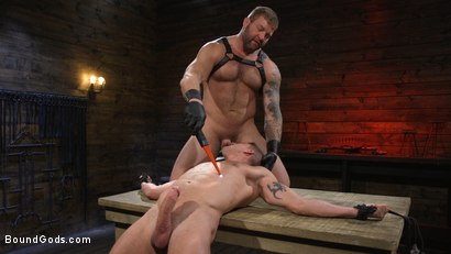 Photo number 9 from Newcomer Sean Maygers Gets Bound and Fucked By Huge Stud Colby Jansen shot for Bound Gods on Kink.com. Featuring Colby Jansen and Sean Maygers in hardcore BDSM & Fetish porn.