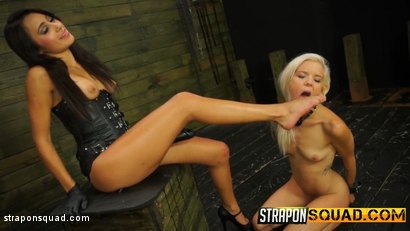 Photo number 3 from Halle Von Loves Lesbian Domination & Foot Worship with Marina Angel shot for Strapon Squad on Kink.com. Featuring Halle Von and Marina Angel in hardcore BDSM & Fetish porn.