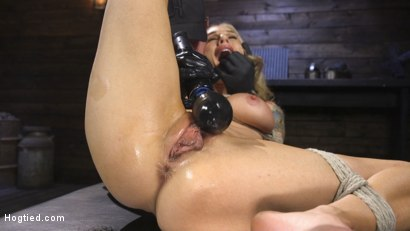 Photo number 1 from Tattooed Big Busted MILF in Bondage, Tormented, and Made to Cum shot for Hogtied on Kink.com. Featuring Sarah Jessie  and The Pope in hardcore BDSM & Fetish porn.
