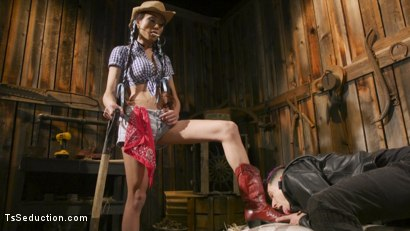 Photo number 2 from Earn Your Keep: Venus Lux's Country Barn Seduction shot for TS Seduction on Kink.com. Featuring Venus Lux and Corbin Dallas in hardcore BDSM & Fetish porn.