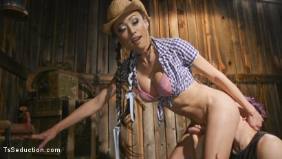 Photo number 11 from Earn Your Keep: Venus Lux's Country Barn Seduction shot for TS Seduction on Kink.com. Featuring Venus Lux and Corbin Dallas in hardcore BDSM & Fetish porn.