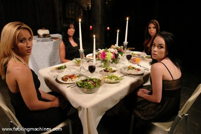 Photo number 1 from The Dinner Party shot for Fucking Machines on Kink.com. Featuring Satine Phoenix, Alexa Von Tess, Lorena Sanchez and Isis Love in hardcore BDSM & Fetish porn.