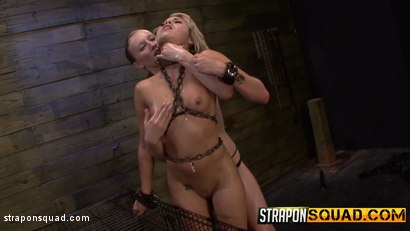 Photo number 16 from Riley Ray Plays with her Caged Pet Marina Angel shot for Strapon Squad on Kink.com. Featuring Marina Angel and Riley Reyes in hardcore BDSM & Fetish porn.
