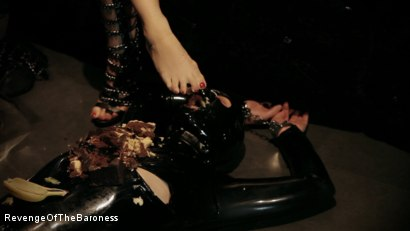 Photo number 3 from Ep 3 - Bizarre dinner date: Dominant sploshing shot for Revenge Of The Baroness on Kink.com. Featuring Baroness Davina Dust and Mr. Chambers in hardcore BDSM & Fetish porn.