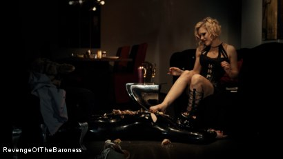Photo number 4 from Ep 3 - Bizarre dinner date: Dominant sploshing shot for Revenge Of The Baroness on Kink.com. Featuring Baroness Davina Dust and Mr. Chambers in hardcore BDSM & Fetish porn.