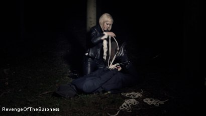 Photo number 15 from Ep 5 - Tied up in the Public Forest: Outdoor Torment by the Baroness shot for Revenge Of The Baroness on Kink.com. Featuring Baroness Davina Dust and Mr. Hansen in hardcore BDSM & Fetish porn.