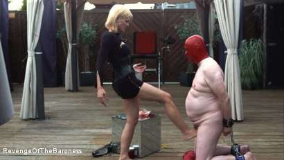 Photo number 17 from Ep 15 - Sploshing and Ballbusting: Humiliated by the Baroness shot for Revenge Of The Baroness on Kink.com. Featuring Baroness Davina Dust and Mr. Greenhen in hardcore BDSM & Fetish porn.