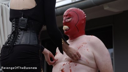 Photo number 3 from Ep 15 - Sploshing and Ballbusting: Humiliated by the Baroness shot for Revenge Of The Baroness on Kink.com. Featuring Baroness Davina Dust and Mr. Greenhen in hardcore BDSM & Fetish porn.