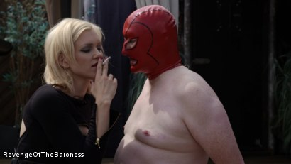 Photo number 10 from Ep 15 - Sploshing and Ballbusting: Humiliated by the Baroness shot for Revenge Of The Baroness on Kink.com. Featuring Baroness Davina Dust and Mr. Greenhen in hardcore BDSM & Fetish porn.