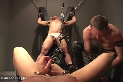Photo number 11 from Alley Pigs in Bondage: A Cage, A Cross and Upside Down Suspension shot for Bound And Gagged on Kink.com. Featuring Peter Sparrow, Shane Stevens and Mike Stone in hardcore BDSM & Fetish porn.