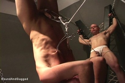 Photo number 17 from Alley Pigs in Bondage: A Cage, A Cross and Upside Down Suspension shot for Bound And Gagged on Kink.com. Featuring Peter Sparrow, Shane Stevens and Mike Stone in hardcore BDSM & Fetish porn.