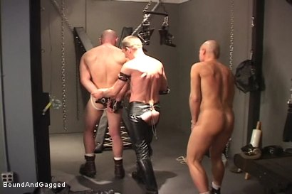 Photo number 10 from Alley Pigs in Bondage: A Cage, A Cross and Upside Down Suspension shot for Bound And Gagged on Kink.com. Featuring Peter Sparrow, Shane Stevens and Mike Stone in hardcore BDSM & Fetish porn.