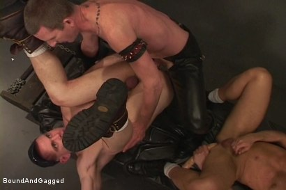 Photo number 5 from Alley Pigs in Bondage: Who's Getting Fucked Now? shot for Bound And Gagged on Kink.com. Featuring Mike Stone, Shane Stevens and Peter Sparrow in hardcore BDSM & Fetish porn.
