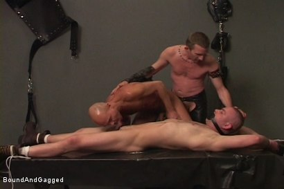 Photo number 2 from Alley Pigs in Bondage: Skullfuck Orgy shot for Bound And Gagged on Kink.com. Featuring Mike Stone, Shane Stevens and Peter Sparrow in hardcore BDSM & Fetish porn.