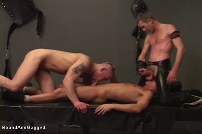 Photo number 10 from Alley Pigs in Bondage: Skullfuck Orgy shot for Bound And Gagged on Kink.com. Featuring Mike Stone, Shane Stevens and Peter Sparrow in hardcore BDSM & Fetish porn.