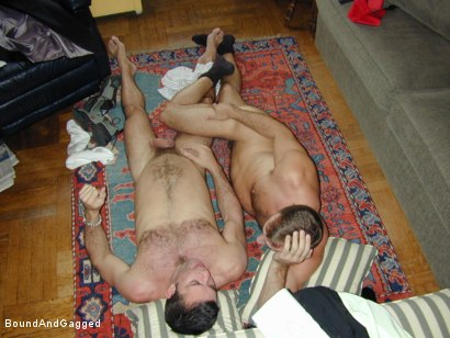 Photo number 12 from Masters & Slaves 1: Two Masters Meet shot for Bound And Gagged on Kink.com. Featuring Jason Branch and Steve Ross in hardcore BDSM & Fetish porn.